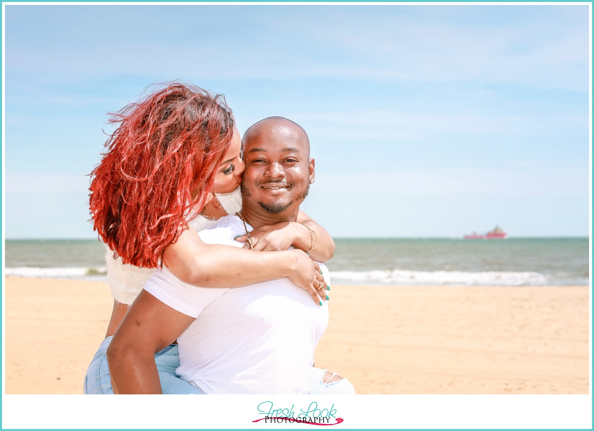 romantic beach engagement photos