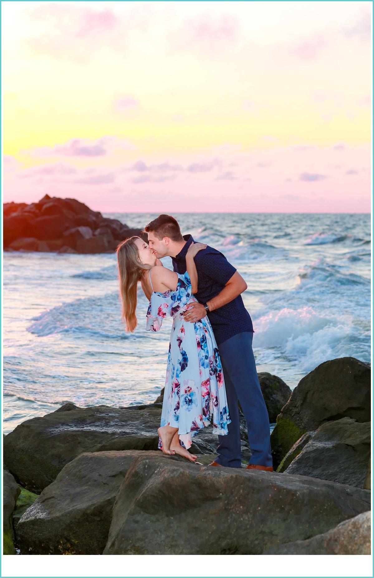 romantic sunset kiss