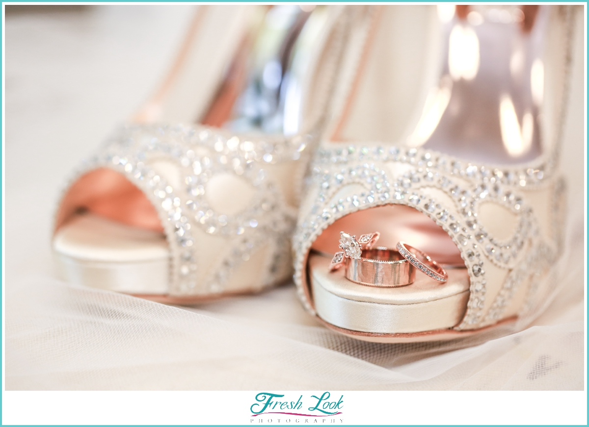 Wedding shoes and rose gold rings
