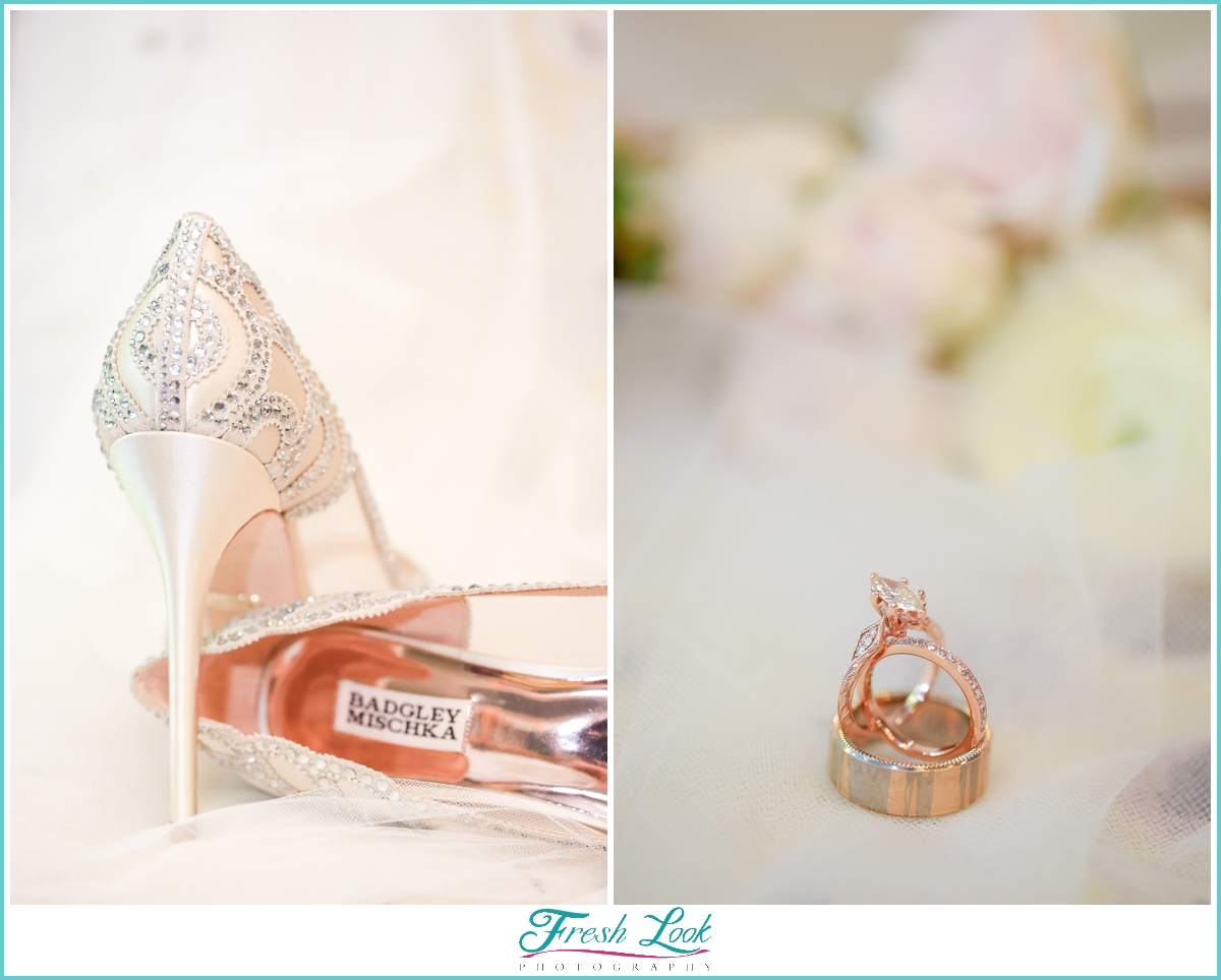 rose gold rings and wedding shoes