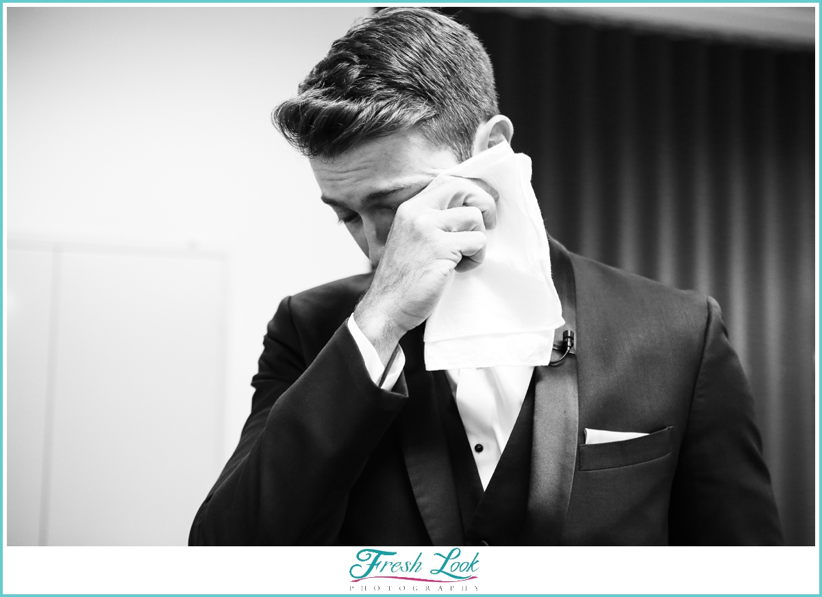 emotional groom at the wedding