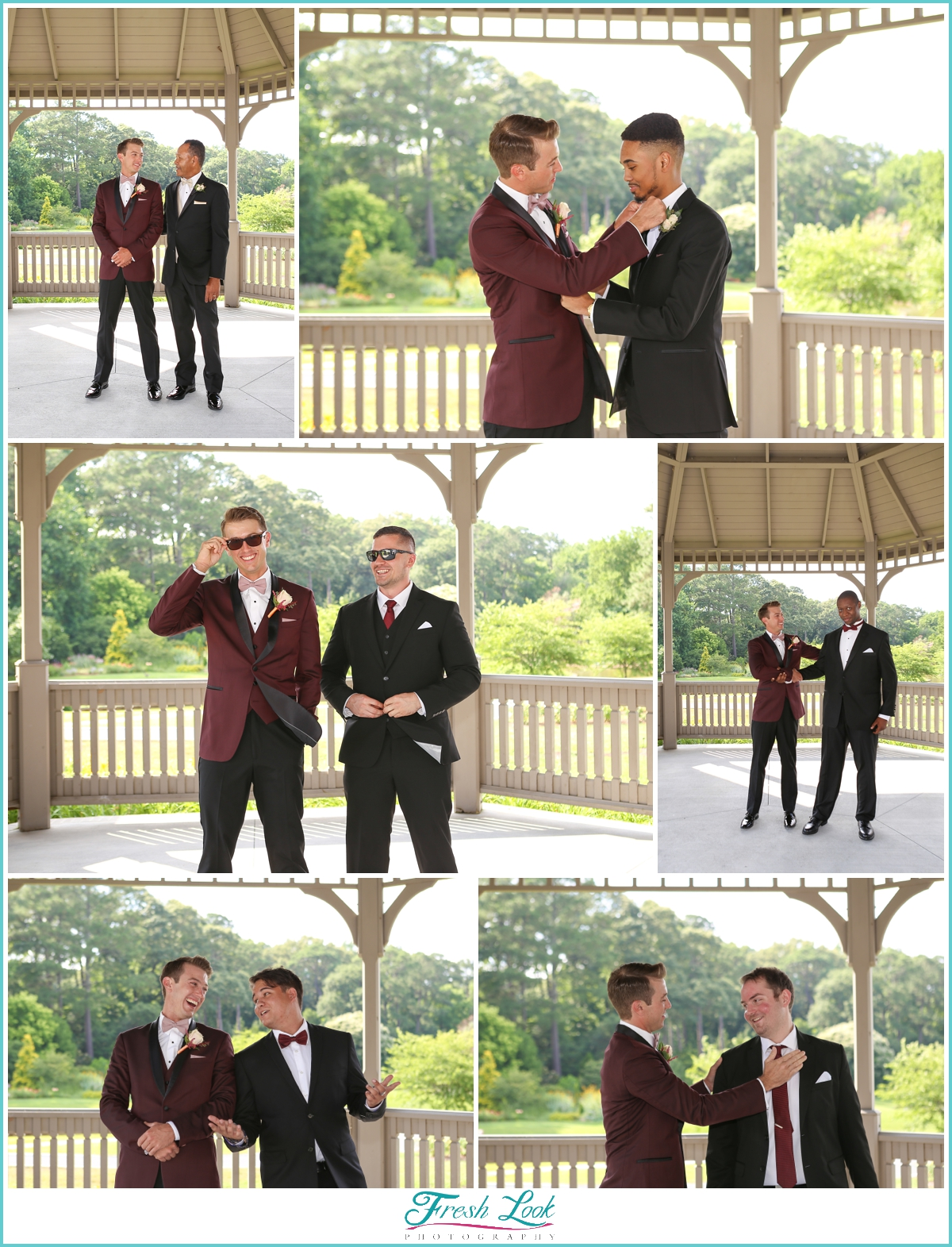 groomsmen and groom being silly