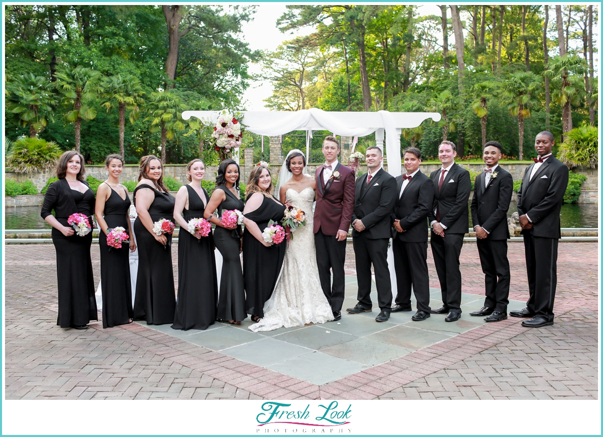 formal bridal party in black