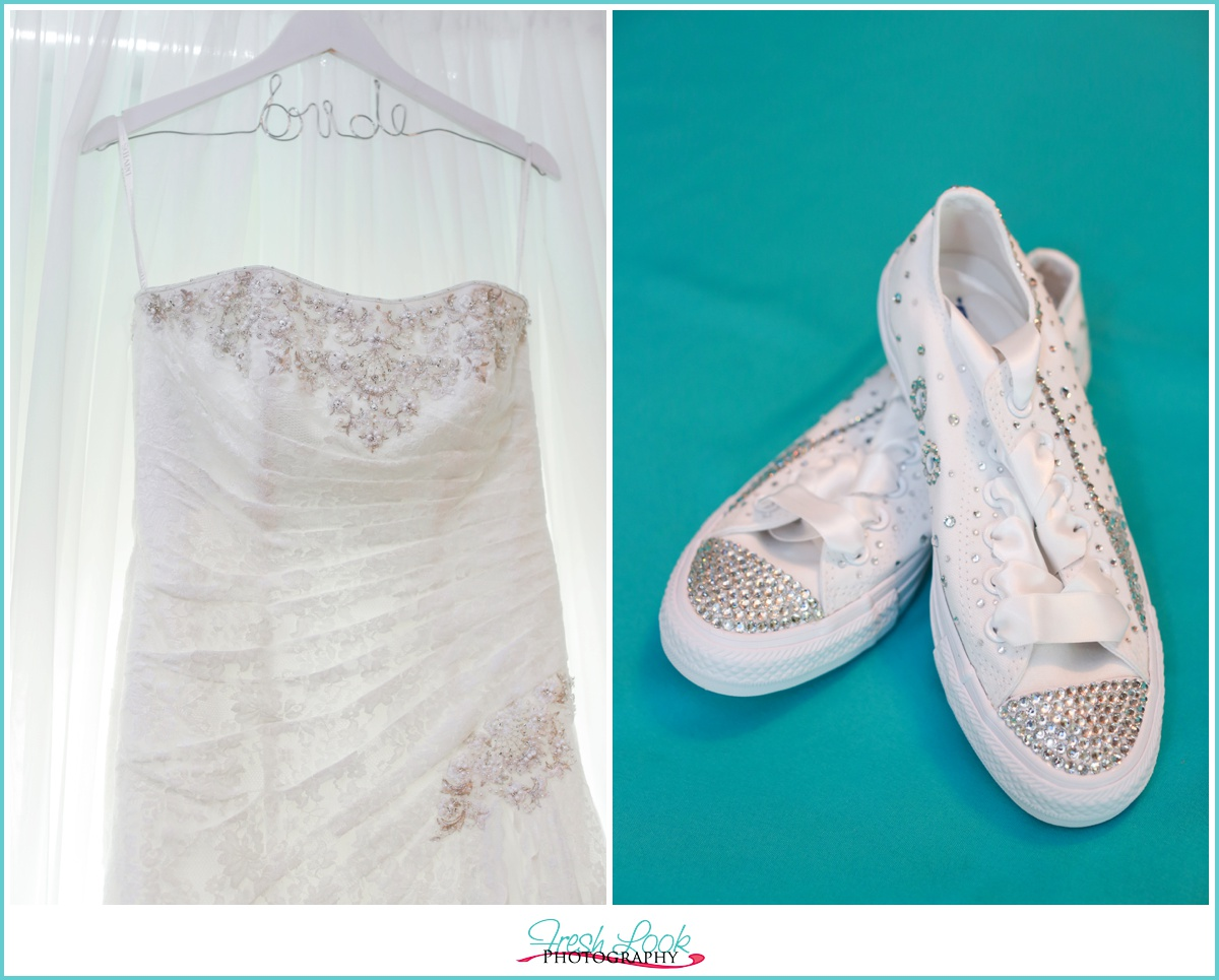 wedding dress and Converse shoes