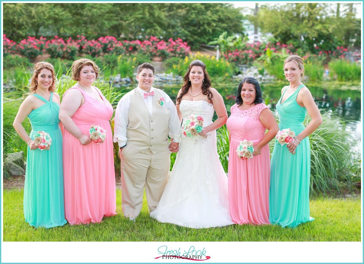 teal and pink bridesmaid dresses