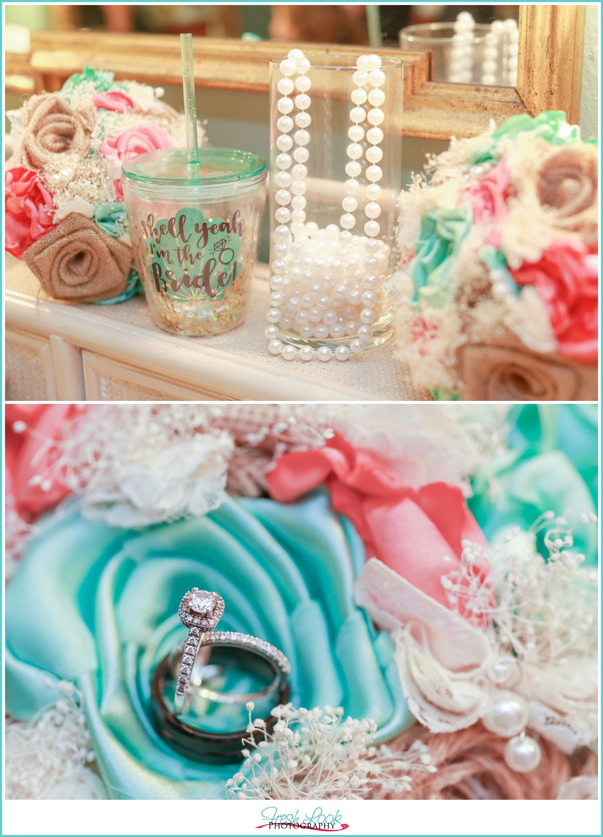 teal and coral wedding details