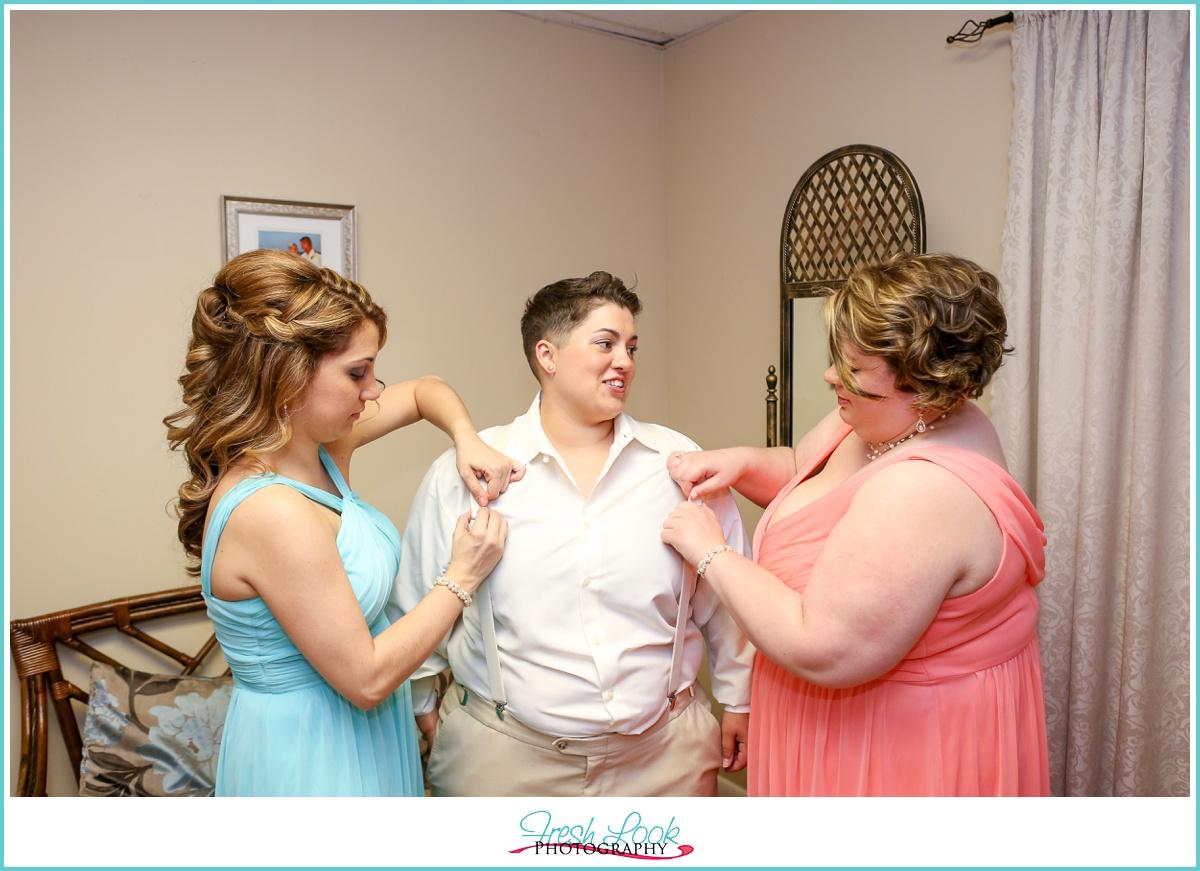 lesbian wedding getting ready