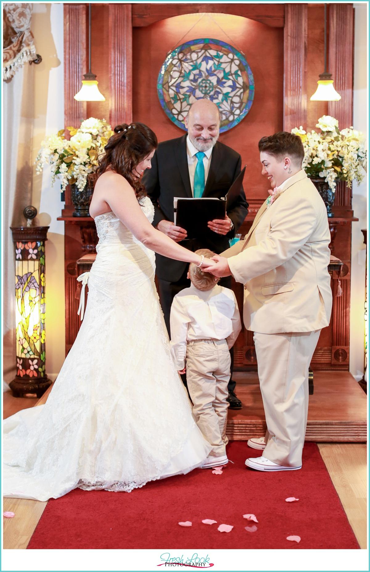 wedding ceremony with child