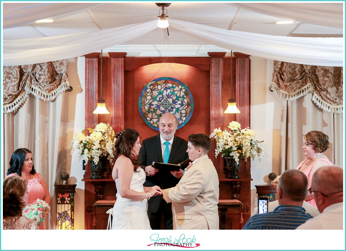 exchanging rings at the wedding