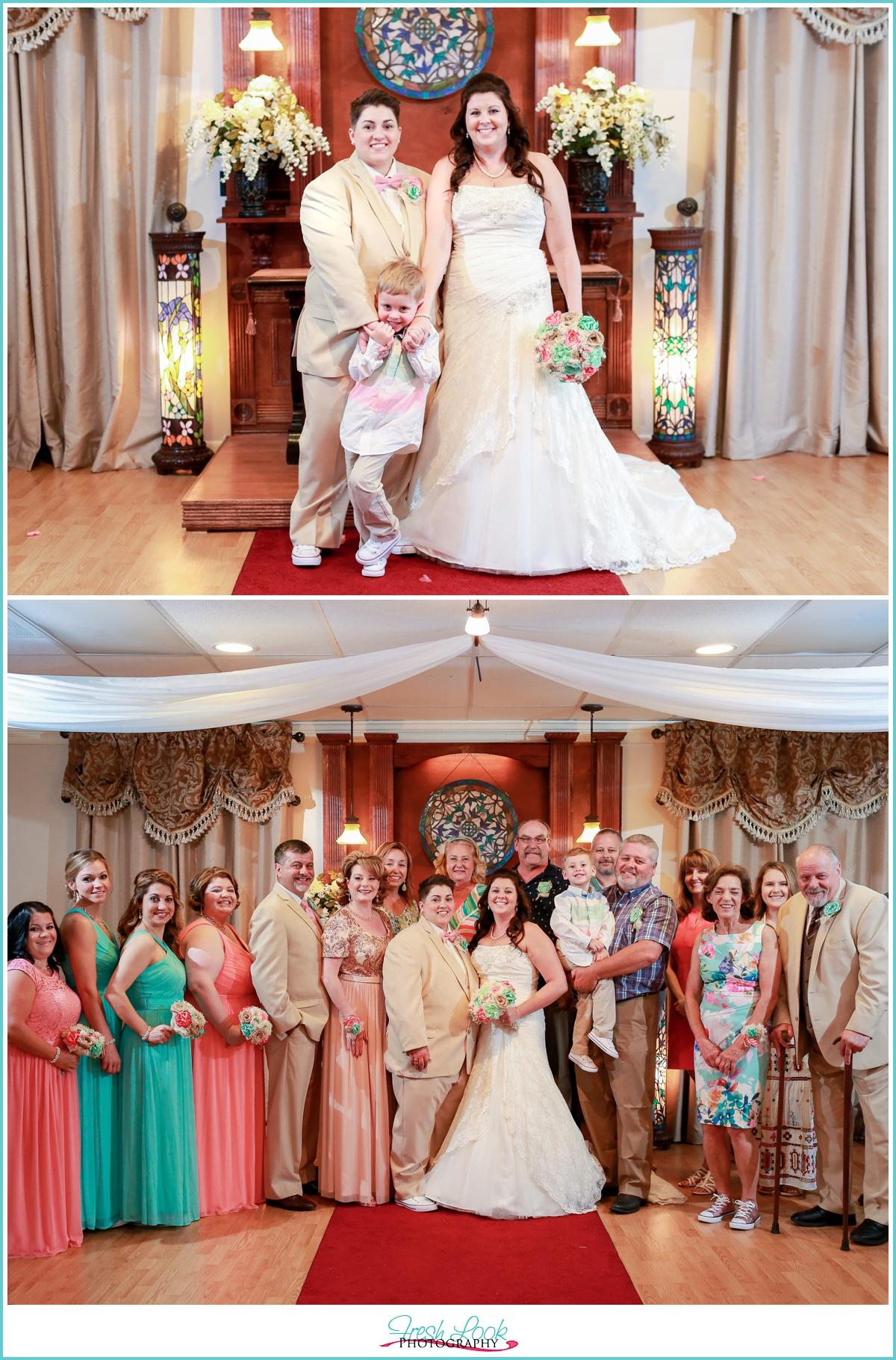 Big family photo at the wedding