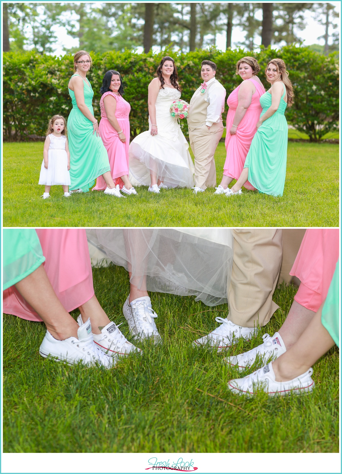 bridesmaids all wearing Converse shoes