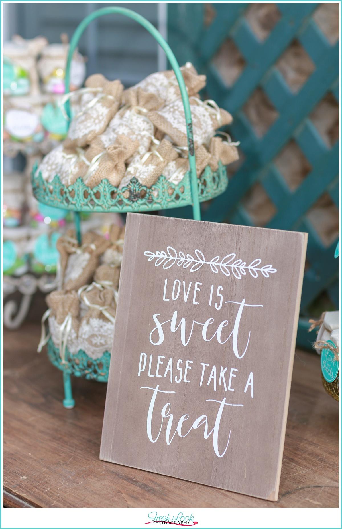 wedding favor treat sign