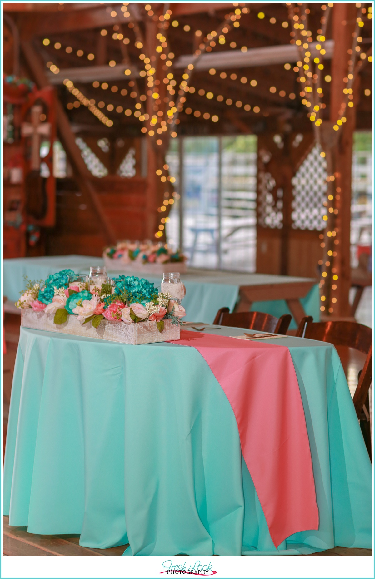teal and coral wedding reception