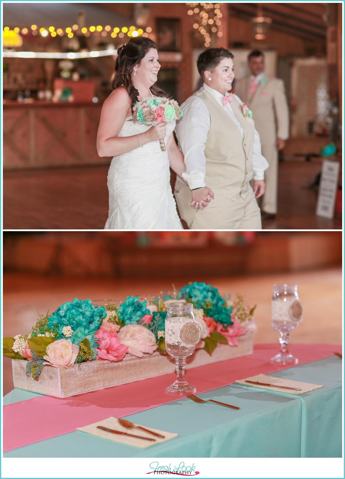 two brides entering reception