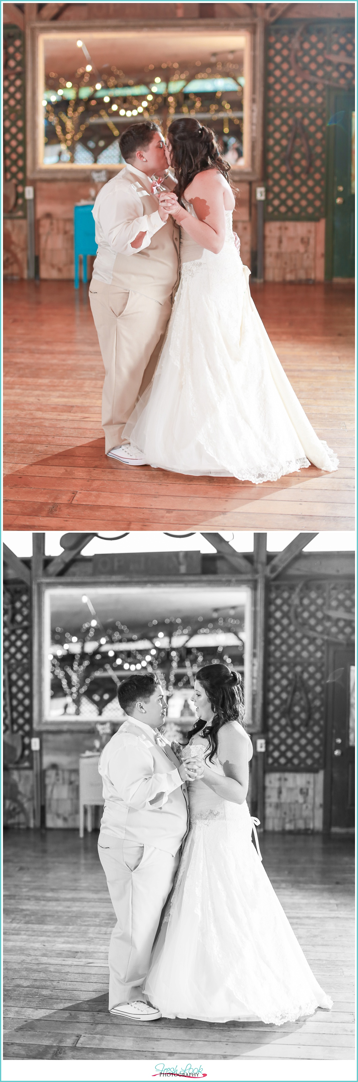 two brides dancing at the wedding