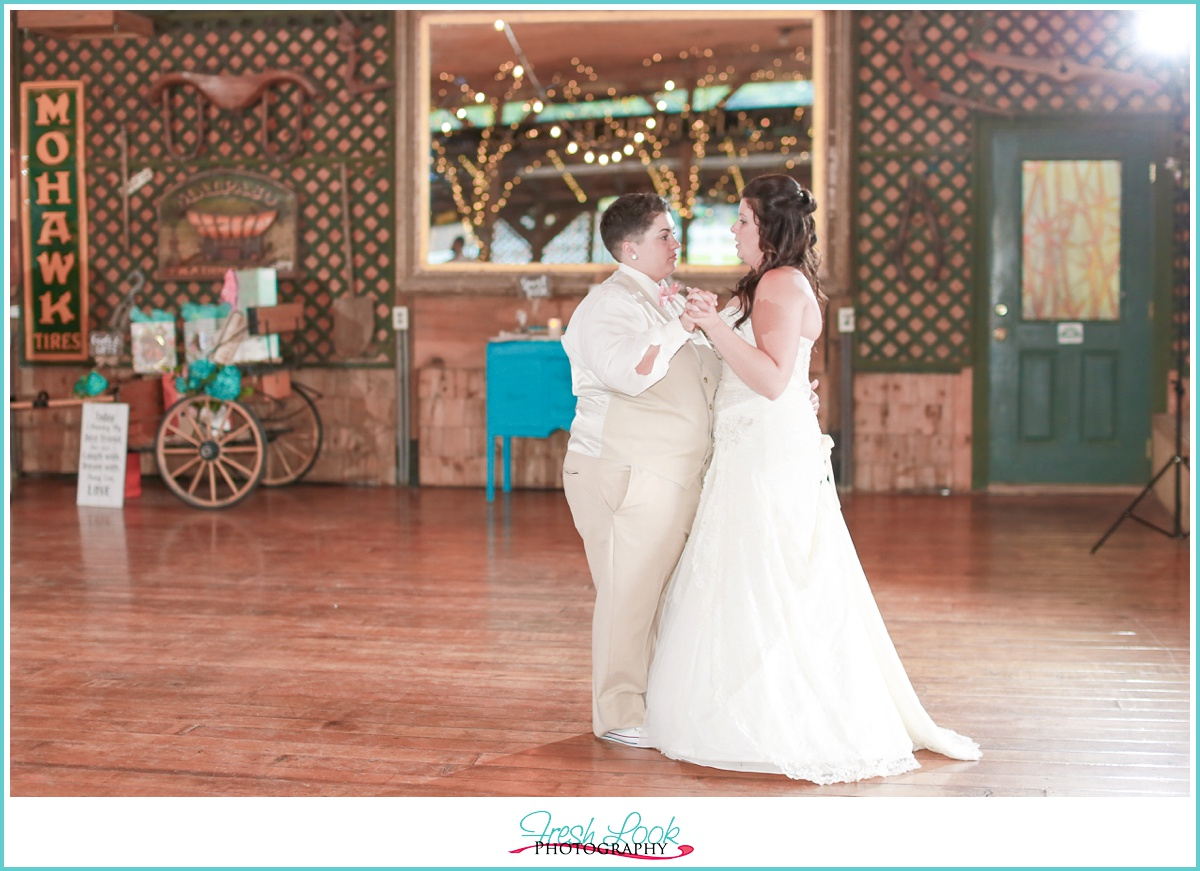 brides dancing at the reception
