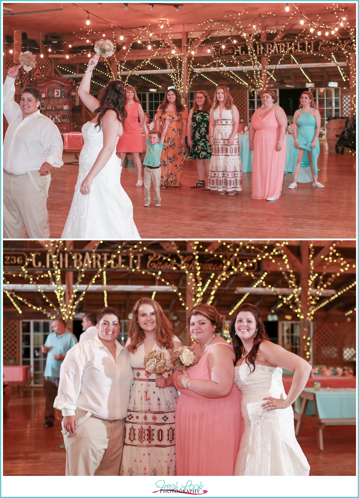 brides tossing the bouquet