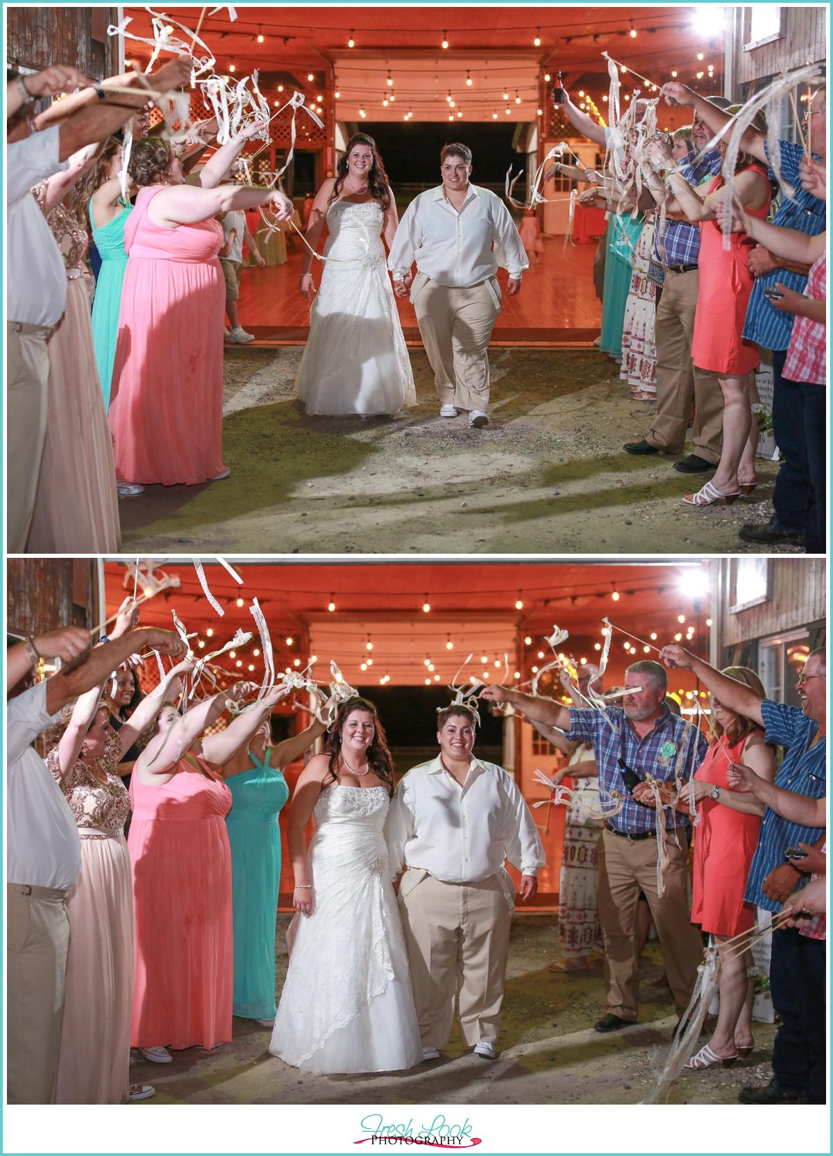 ribbon wand exit at wedding