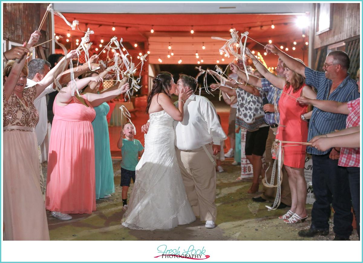 romantic ribbon wand reception exit