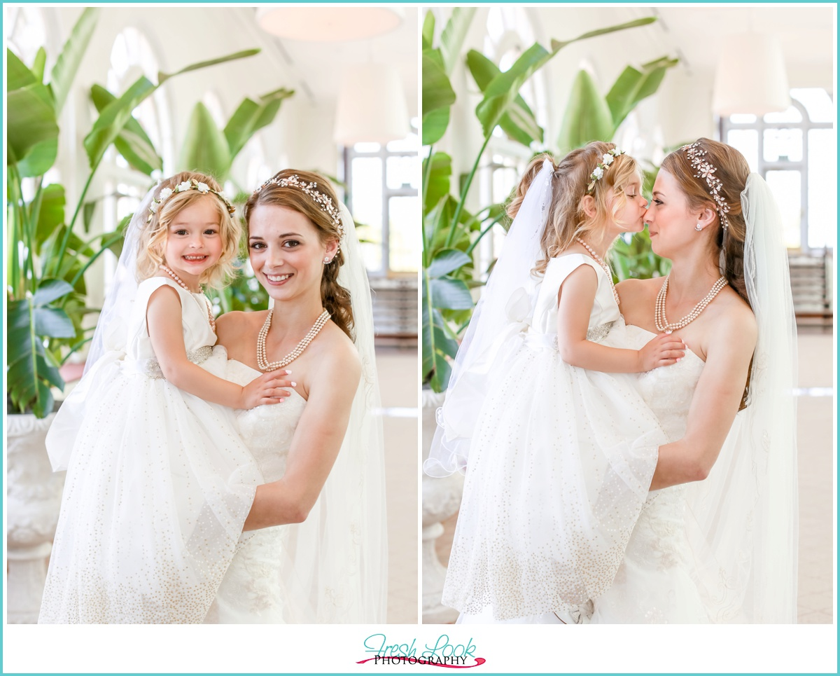 Bride and flower girl at Cavalier Hotel