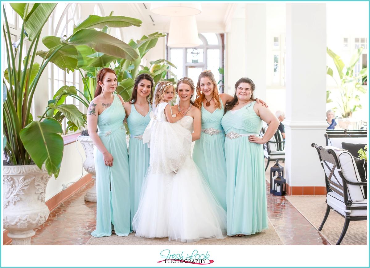 Bride and Bridesmaids at Cavalier Hotel
