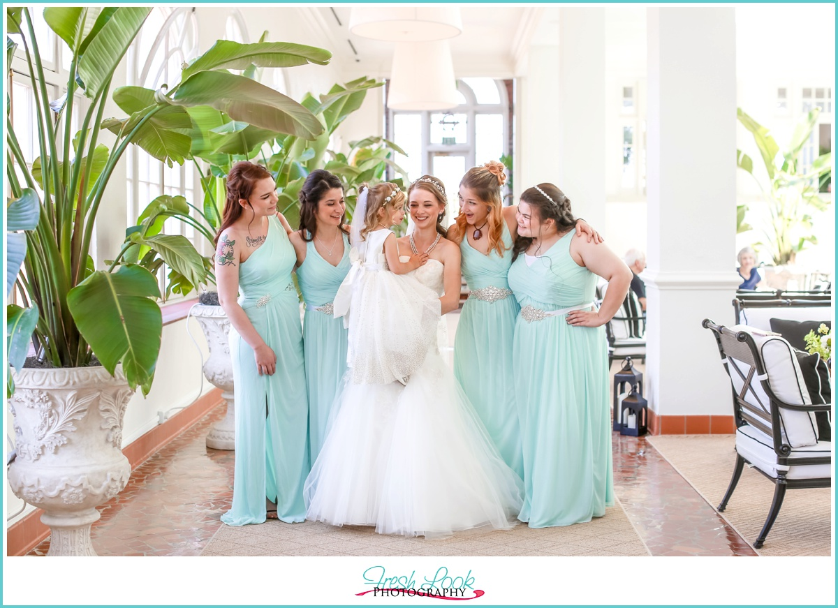 Teal Bridesmaids at Cavalier Hotel