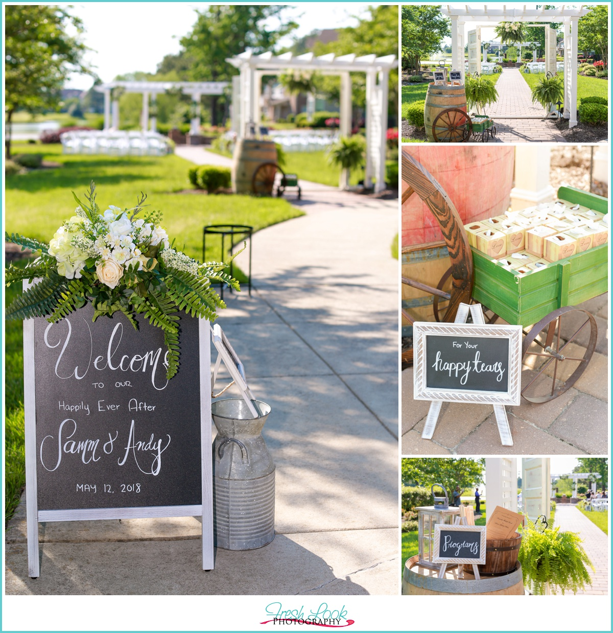Outdoor wedding ceremony at West Neck Village Hall