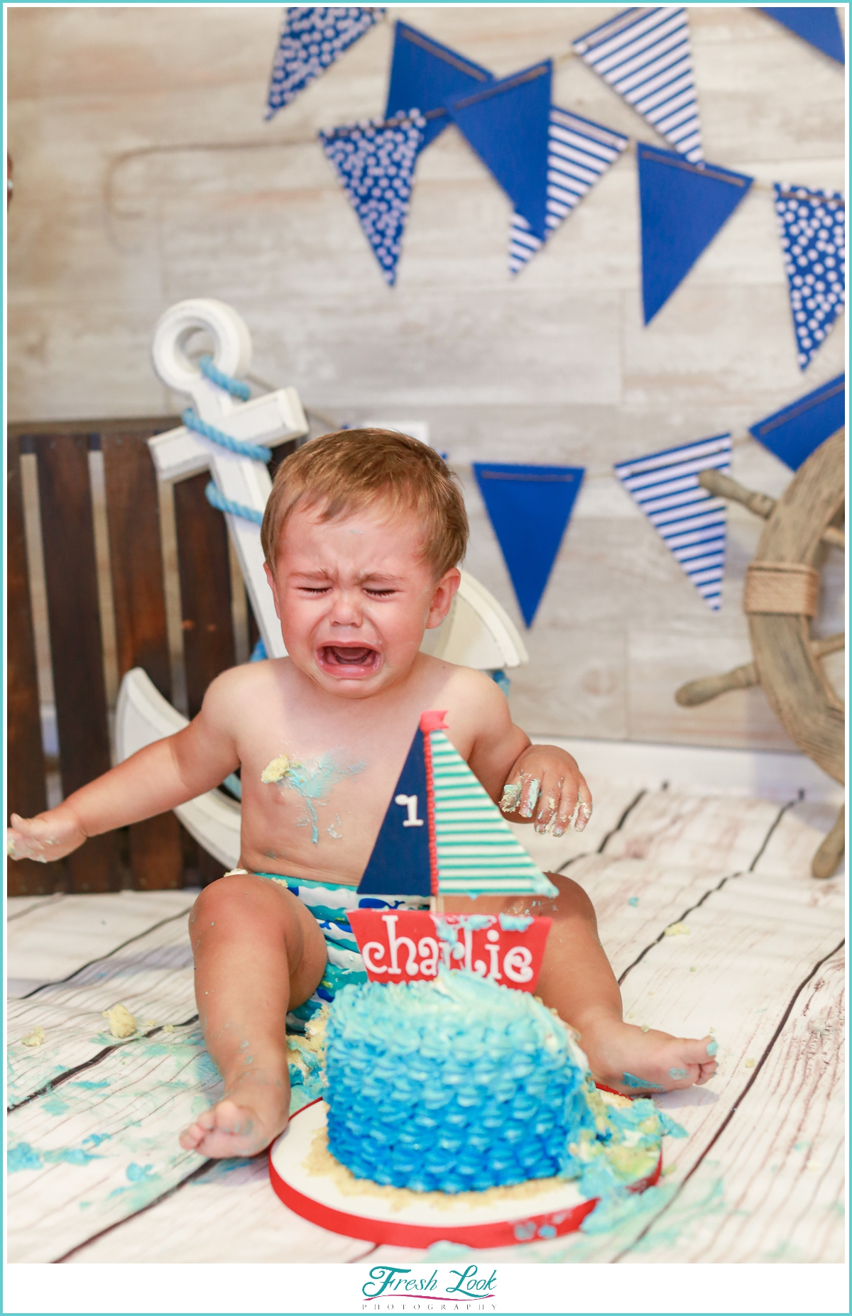 baby who's done with cake smash