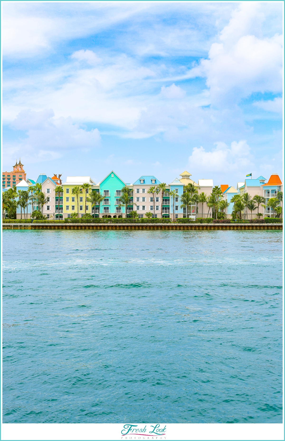 colorful vacation houses on the water
