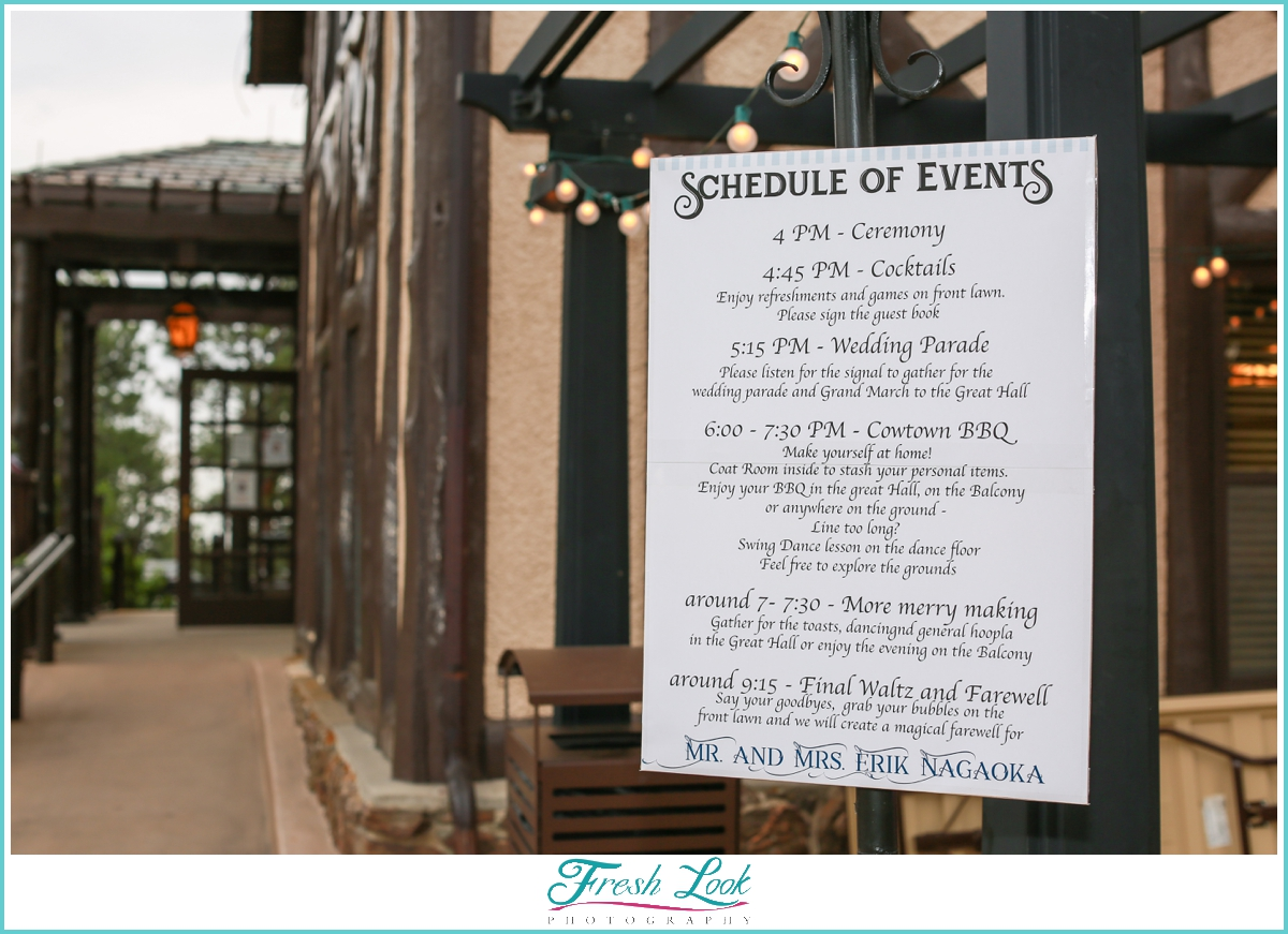 wedding day schedule of events