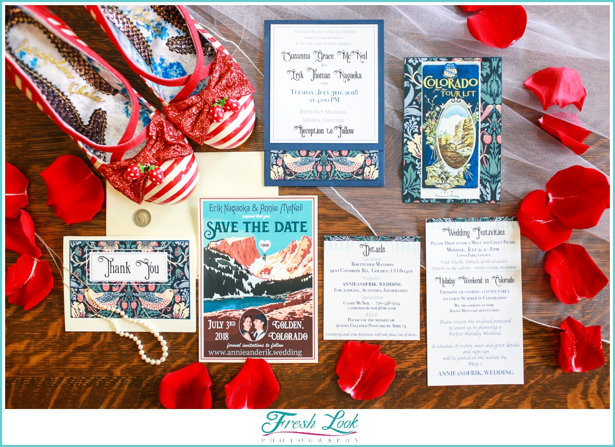 red white and blue destination wedding