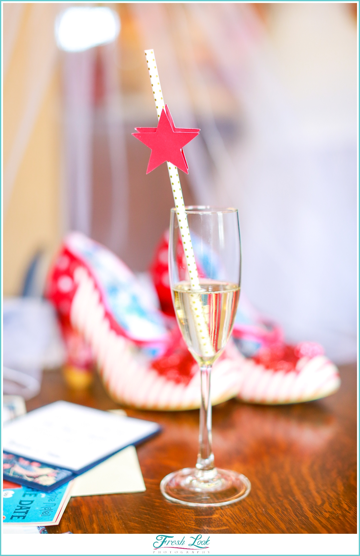 champagne and wedding shoes