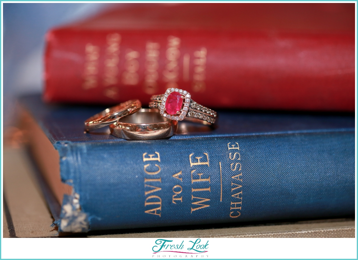 wedding rings and books
