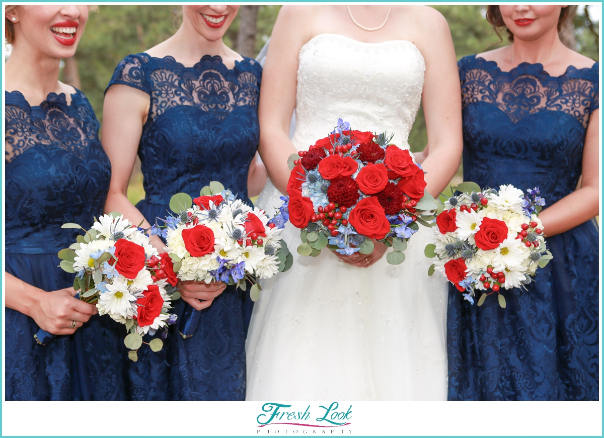 red white and blue themed wedding