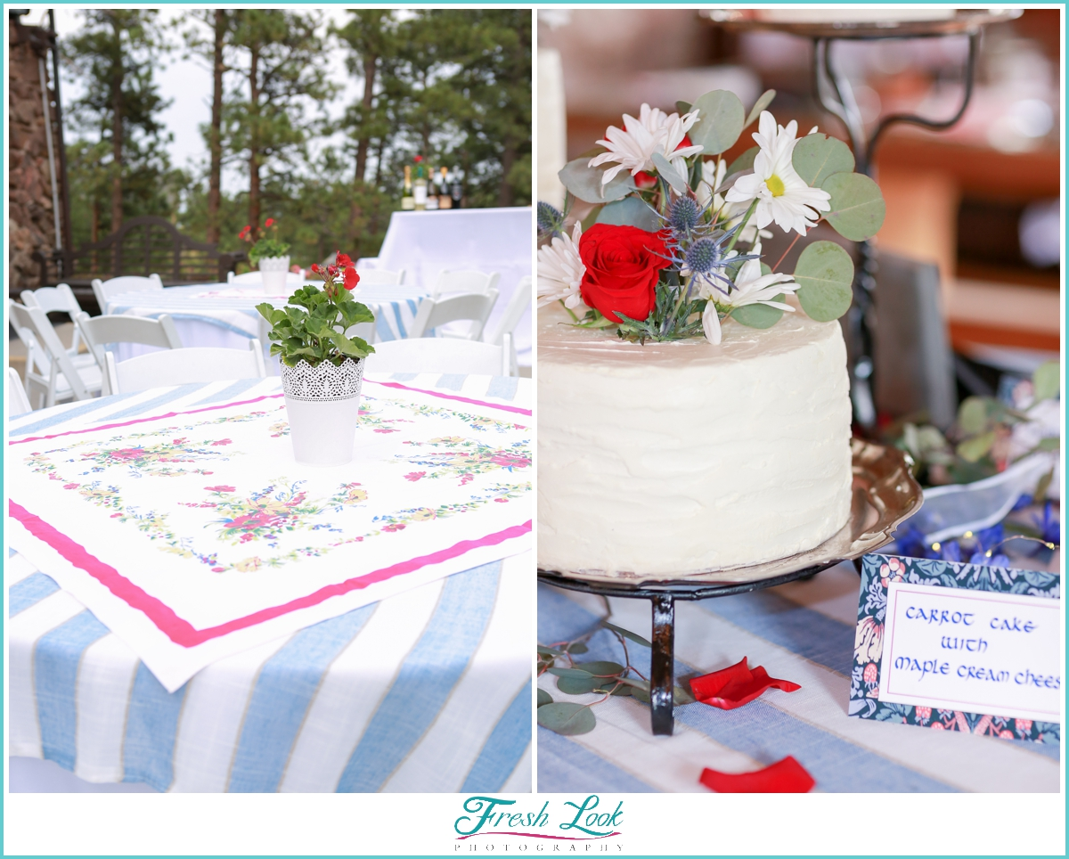red white and blue wedding details