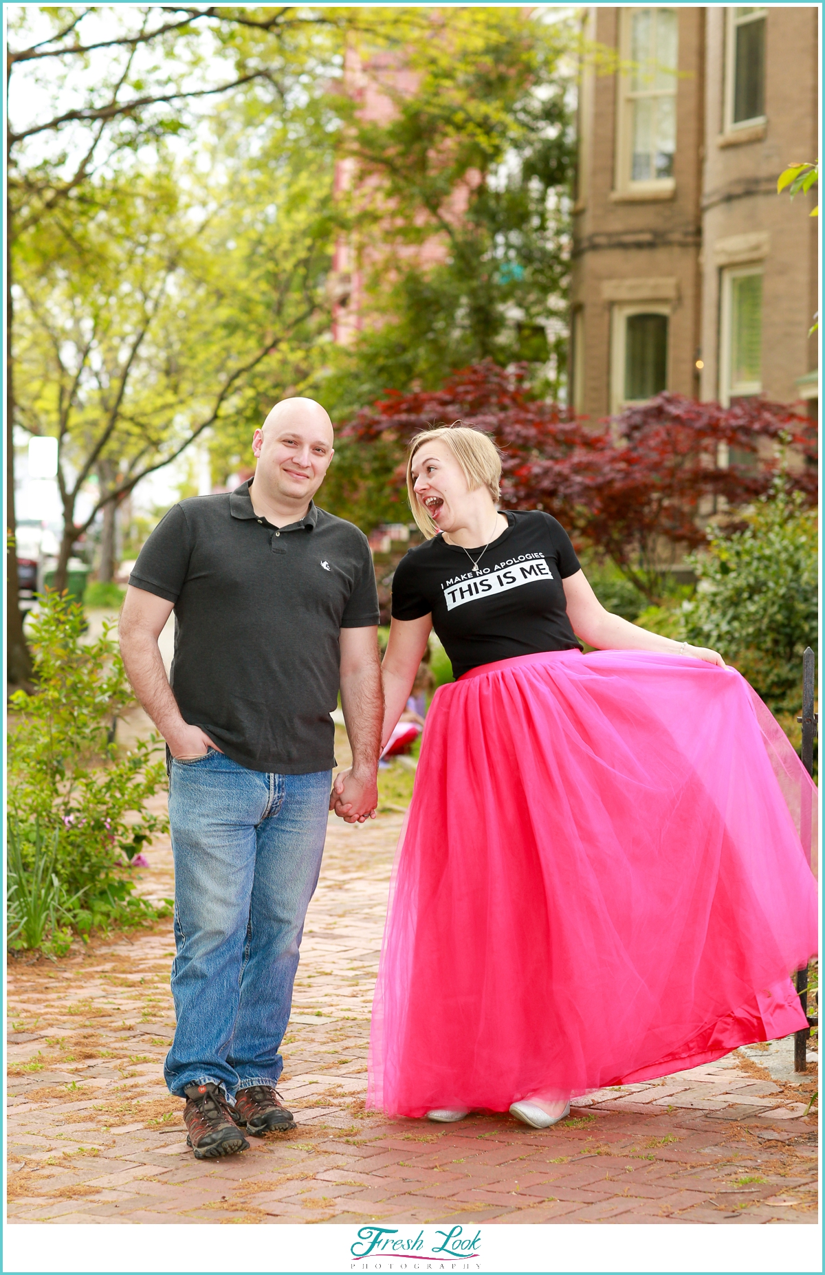 fun couples photo shoot with tulle skirt