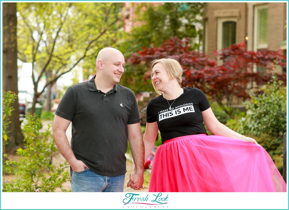 hot pink tulle skirt couples photos