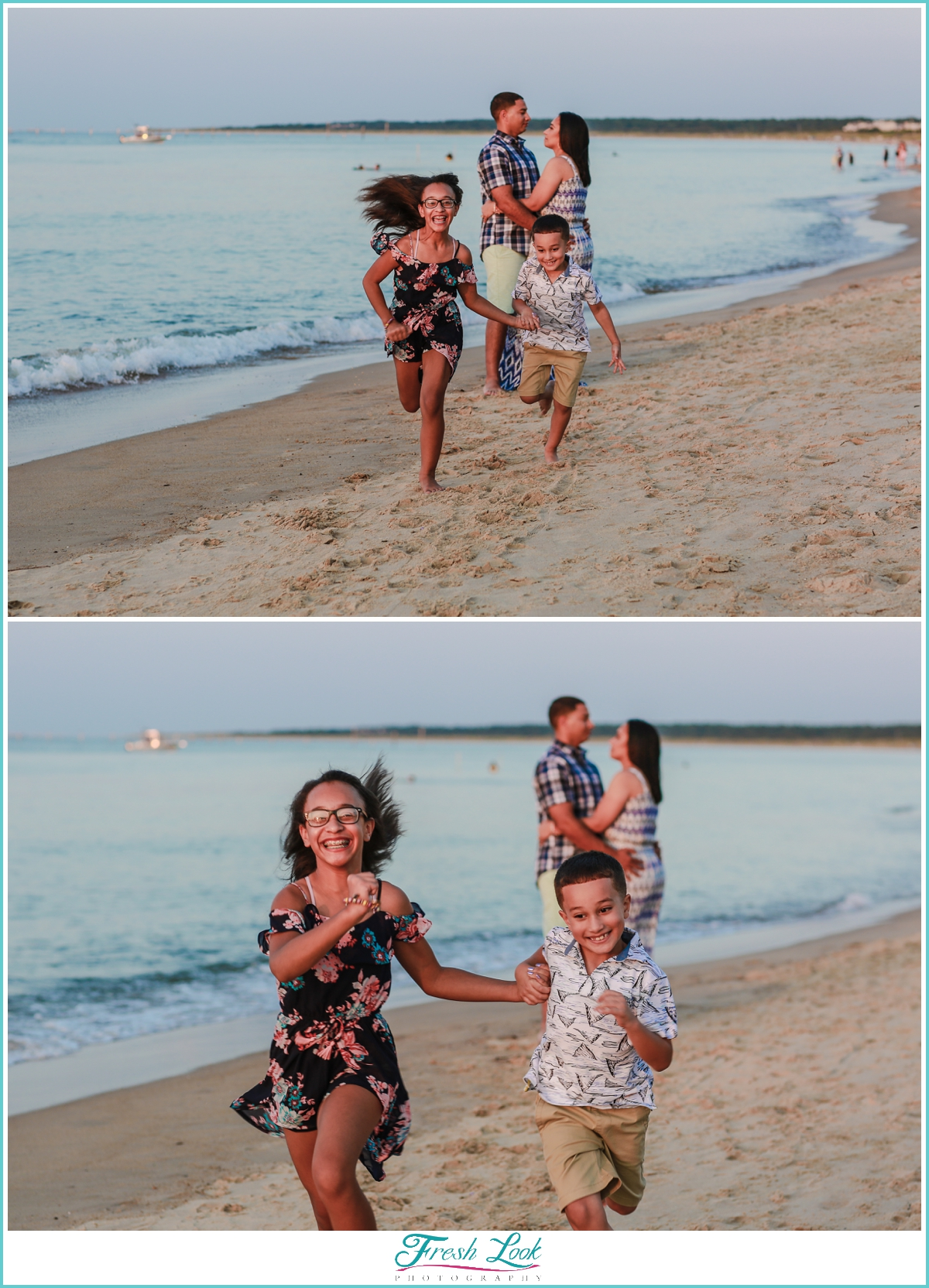 kids running on the beach