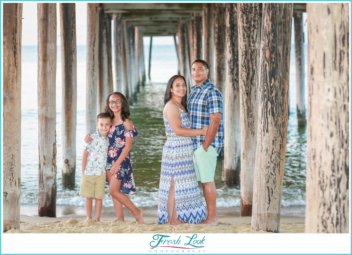 family photos under the pier