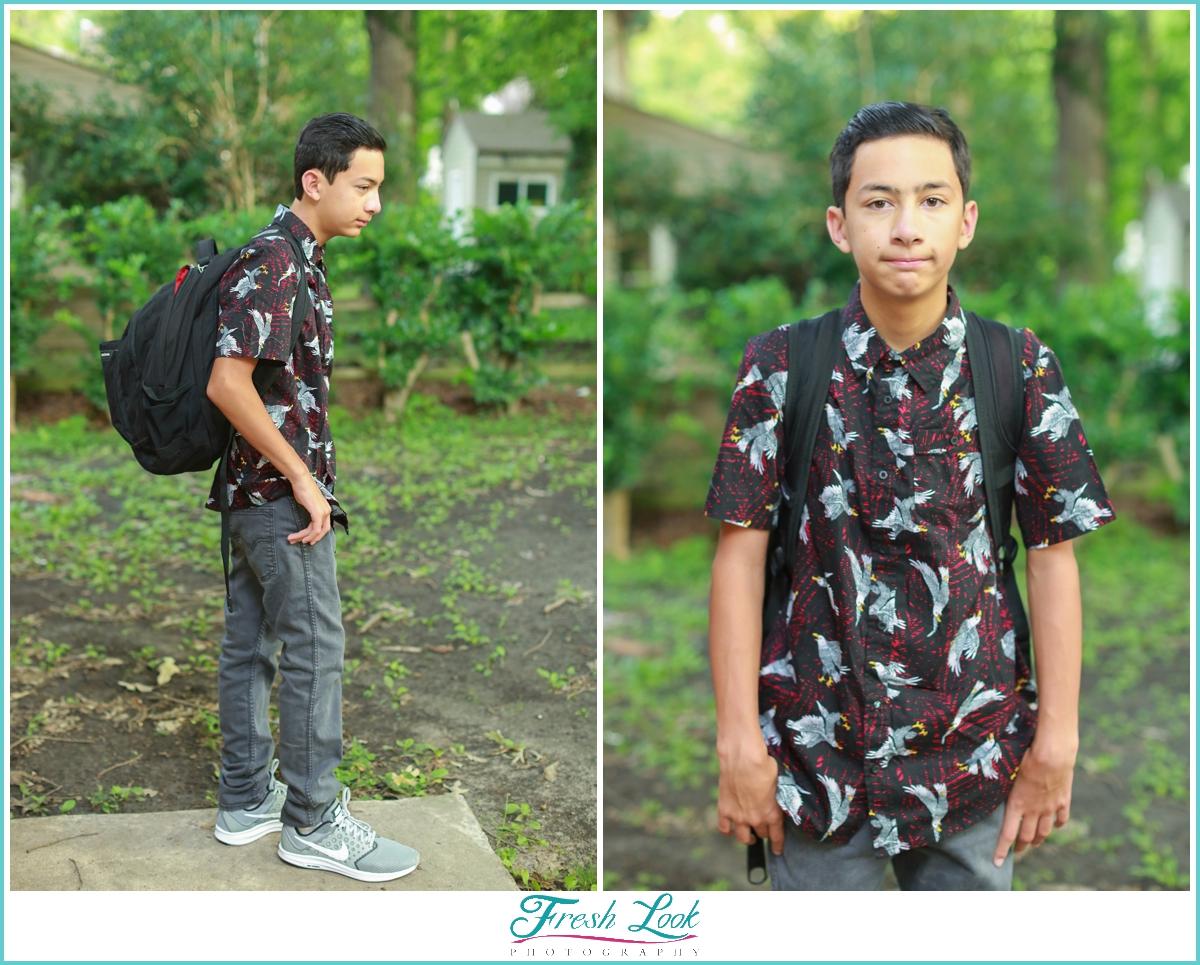 grouchy middle school boy