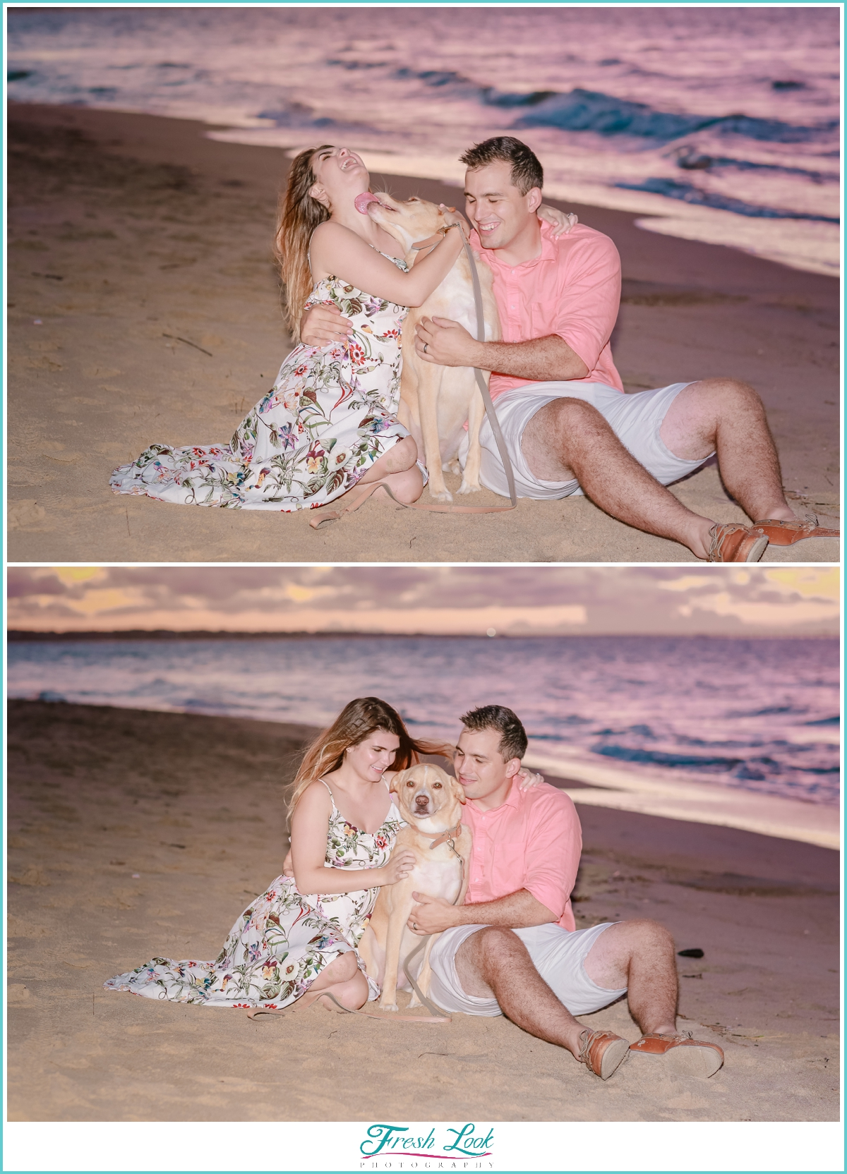 puppy kisses during photo shoot