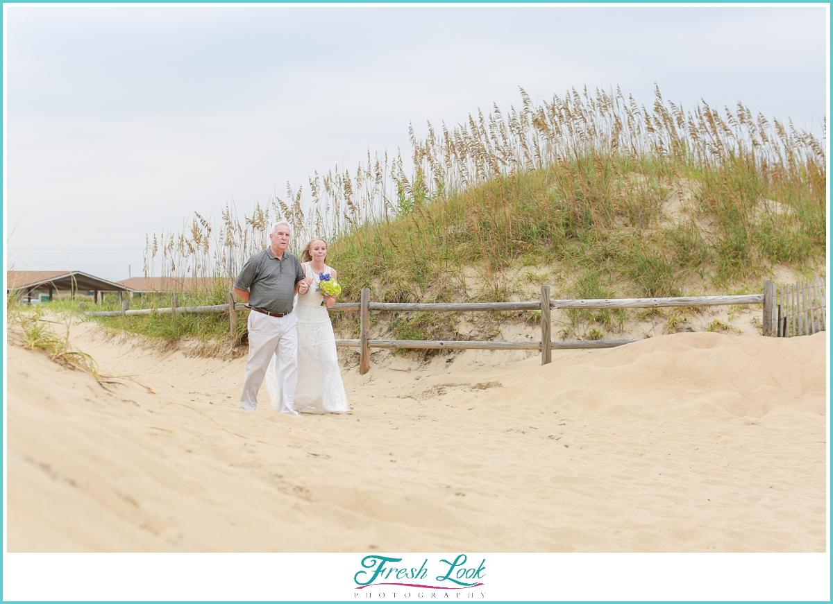 here comes the bride beach wedding