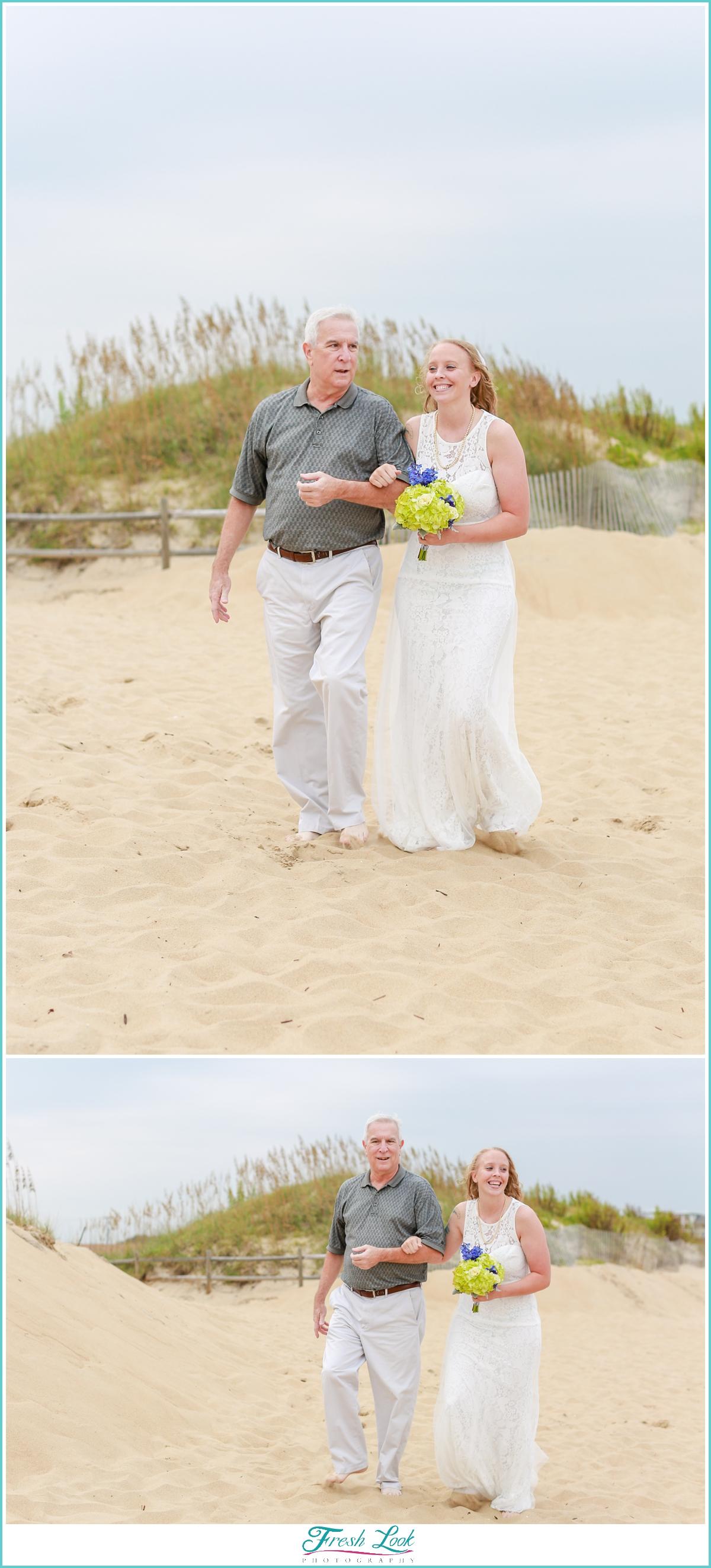 bride walking down the beach