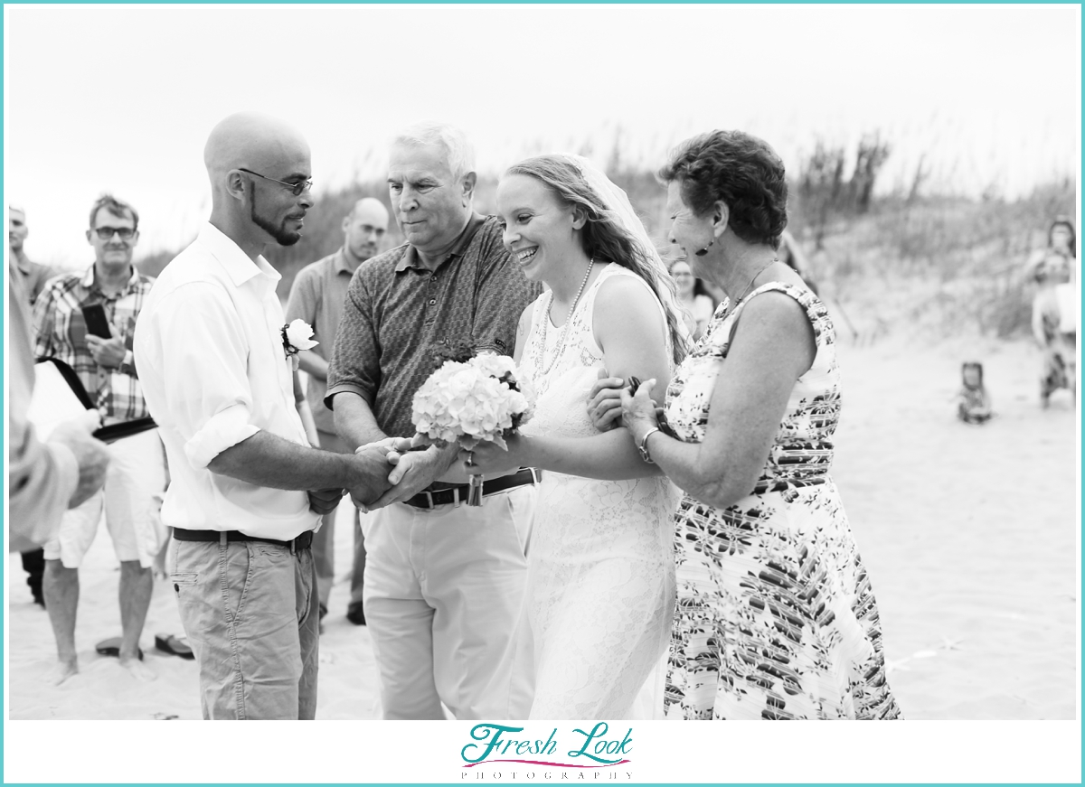 intimate beach wedding ceremony
