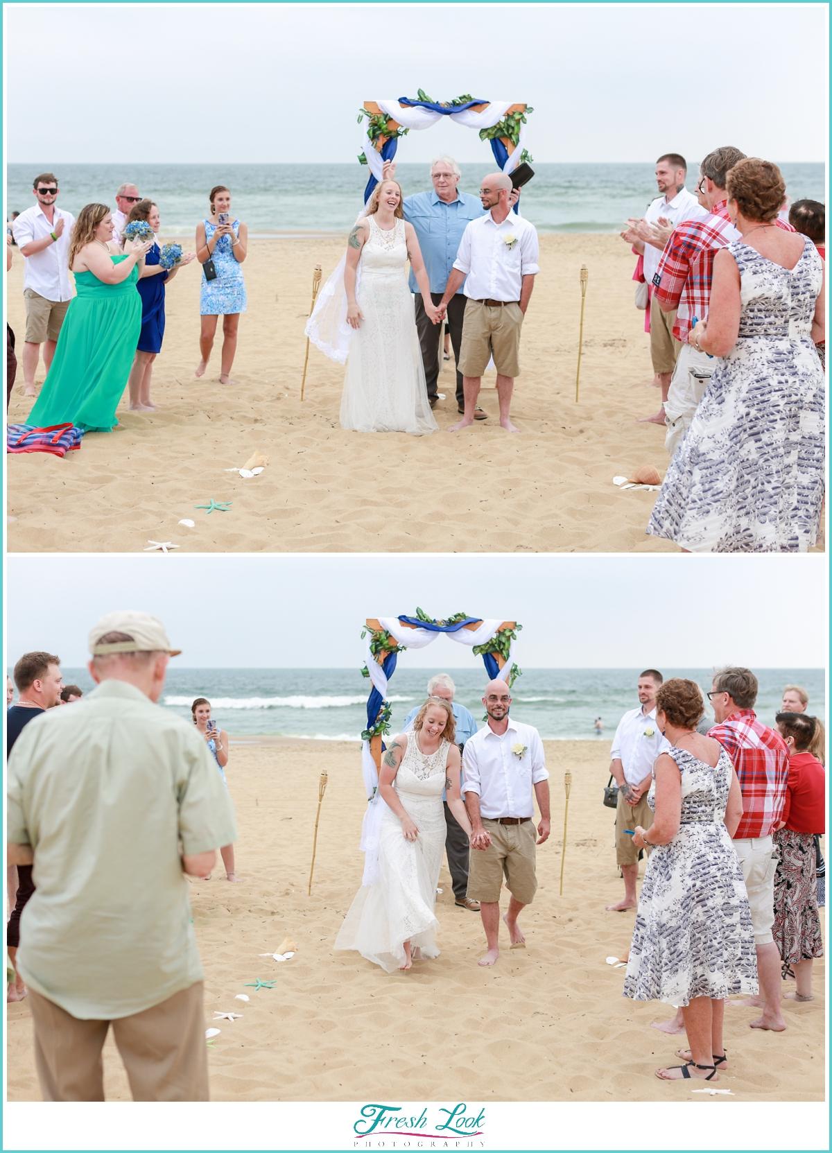 Romantic beach wedding ceremony