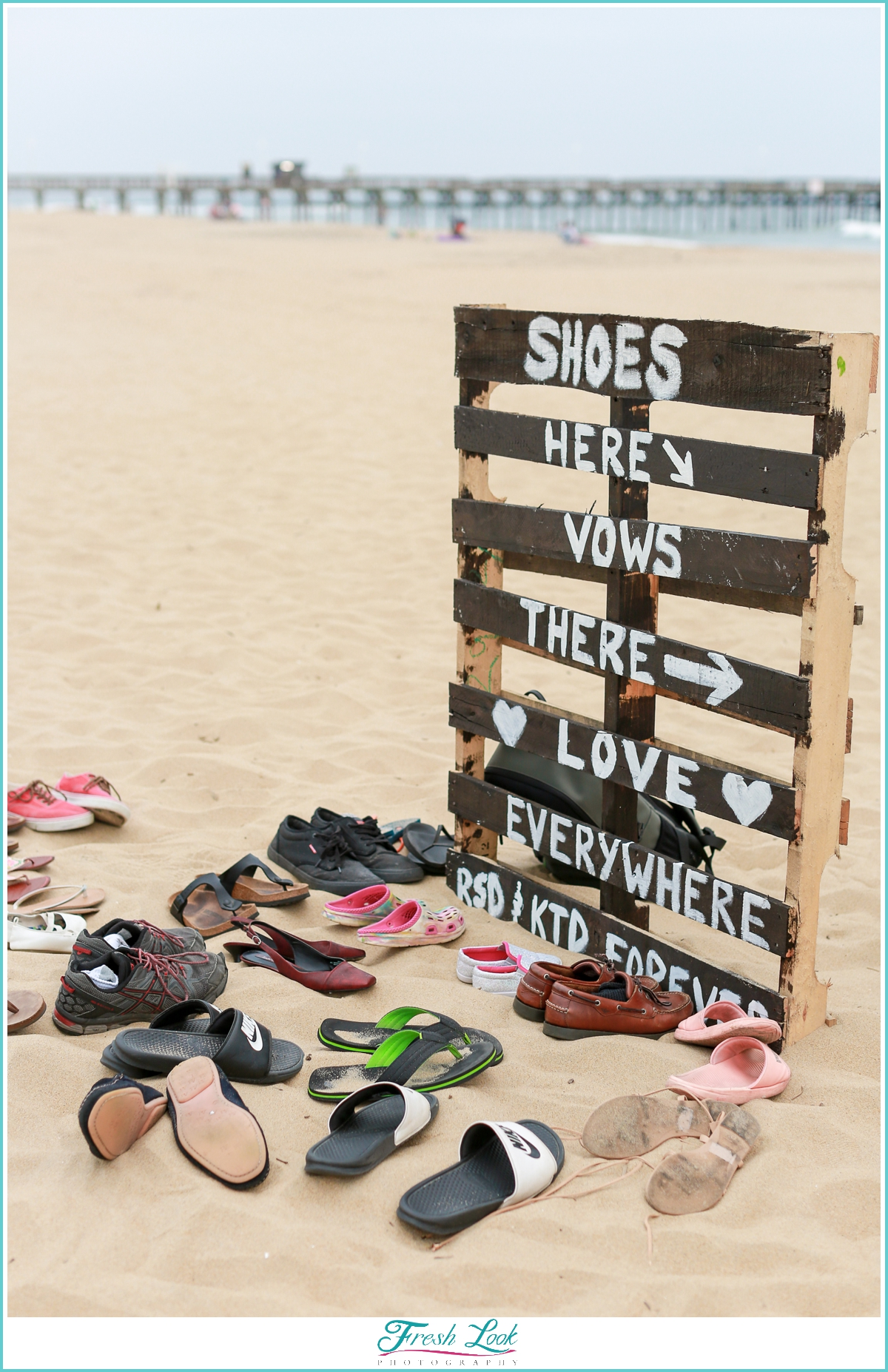 Shoes go here beach sign