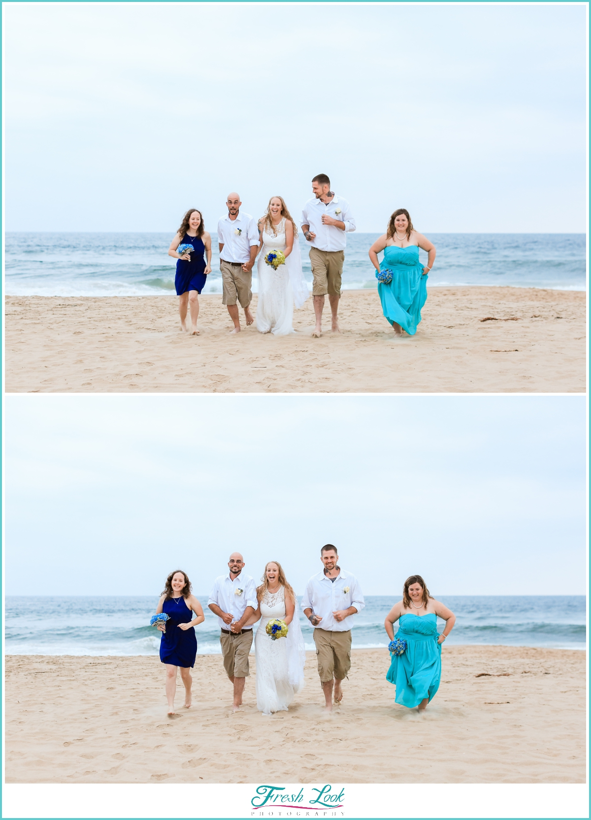 bridal party running on the beach