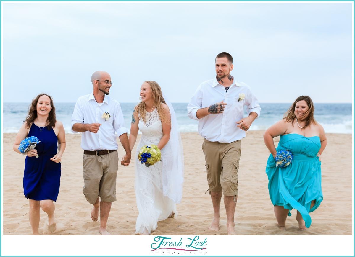 fun bridal party on the beach