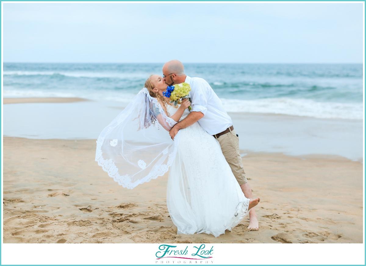 romantic bride and groom beach wedding