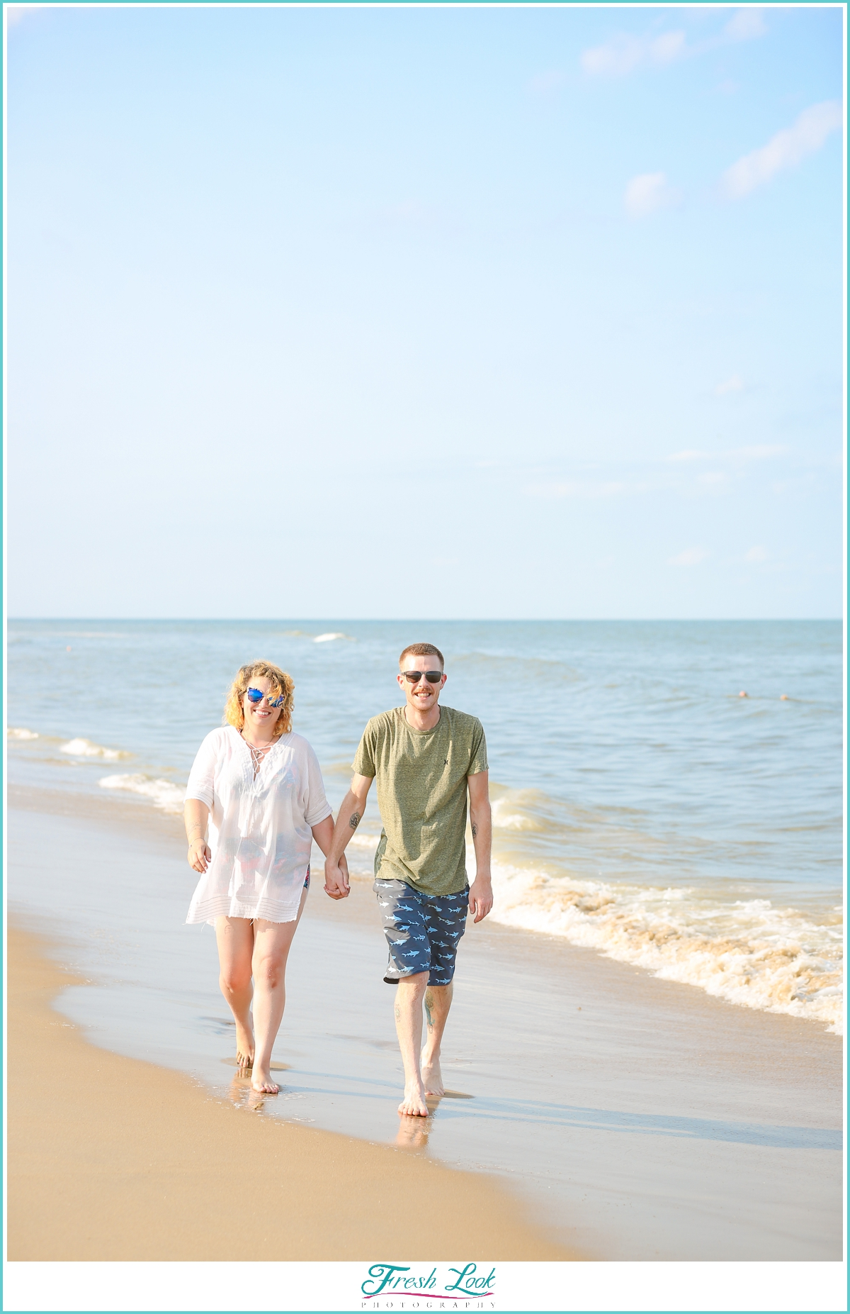 romantic walk on the beach together